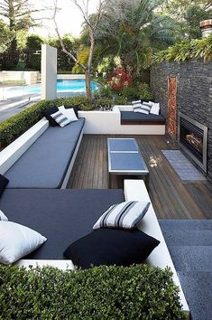 #Deck #Outdoor #FirePlace #Pool #Greenery #DarkAccents