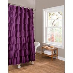Essential Living Ruffle Purple Shower Curtain - Walmart.com