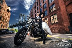 Chinese pre wedding photos in Brooklyn New York. The photo featuring the bride and groom riding a Yamaha motorcycle as part of their engagement couture photography session. #hdrengagementphoto #brooklynchinesewedding #chineseweddingphotonyc #纽约婚纱摄影 #motorcycleengagementphotos