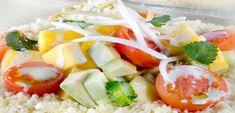 Couscoussalat - QimiQ Avocado, Mango, Couscous, Caprese Salad, Food, Cilantro, Food Portions, Kuchen, Manga