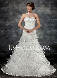 Wedding Dresses - $228.99 - Sheath/Column Strapless Chapel Train Organza Satin Wedding Dresses With Ruffle Lace Beadwork (002017427) http://jjshouse.com/Sheath-Column-Strapless-Chapel-Train-Organza-Satin-Wedding-Dresses-With-Ruffle-Lace-Beadwork-002017427-g17427