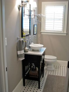 my guest bath in grey, black and white