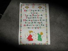 Vtg Cross Stitch Finished Pc Childs Room Now I Lay by ThenForNow