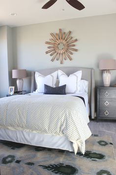 hole-in-one parade home | st. george, utah | by alice lane home collection | bedroom, sunburst mirror, duvet, ikat, casita