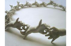 Why can't we be friends?, 2008, porcelaine, 40cm x 40cm. artist Marthe Le Basque. I've seen a less detailed version on Shapeways called OK necklace