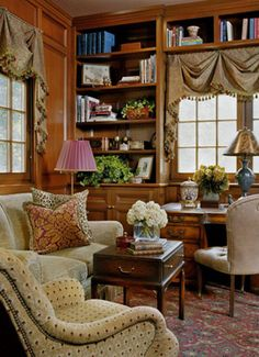Cozy corner to relax, read, or get a little work done, especially like the earth colors