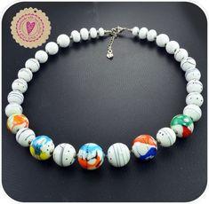 collier • perles SRA • perles verre de Murano • blanc