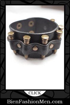 Mens Leather Cuffs | Mens Bracelets | Mens Jewelry | Mens Accessories | Bracelets on Men | Mens Jewelery | Shop Now ♦ Fashionable Punk Rock Man Hemp Cuff Wrist Tribal Surfer Multi Wrap Mens Rivets Black Bullet Genuine Leather Bracelet $19.99