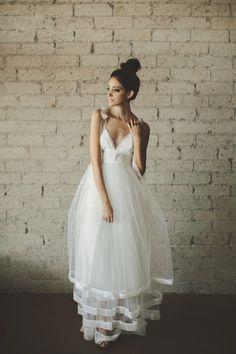 Deep V Neck Floor Length A Line Tiered Tulle Wedding Dress от ouma, $1280,00