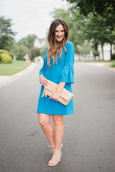 Donna Morgan Blue Flutter Sleeve Dress on Style Your Senses