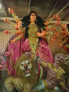 Godess Durga idol being prepared at an artisan's shed, Kolkata.