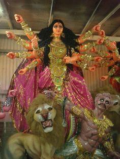 Godess Durga idol being prepared at an artisan's shed, Kolkata.