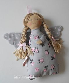 guardian angel/Anjo da guarda/grey/pink by MamaPintinha on Etsy