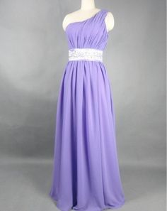 Maid of honor #1    Custom Beach One-shoulder Floor-length Chiffon Sashes Beading Long Bridesmaid/Evening/Party/Homecoming/Prom/Formal Dresses 2013 New Arrival. $82.00, via Etsy.