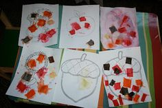 Lisa's Littlest Learners: fall art, liquid starch and tissue paper painting