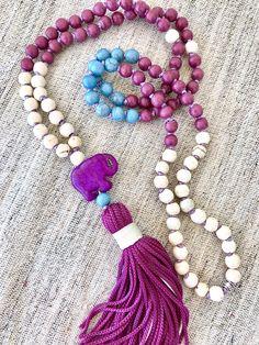 White purple mala necklace howlite mala necklace elephant tassel mala necklace yoga mala meditation necklace purpe howlite white mala by Katiaicrafts on Etsy