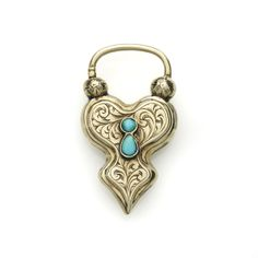 Late Victorian Hand-Engraved Padlock Brooch with Turquoise