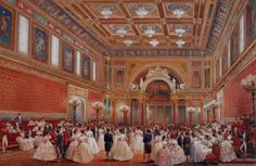 Prince Albert's ballroom in Buckingham Palace.  When I have a ballroom, guests will not be wearing this much white clothing.