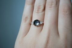 Oracle Rose Cut Montana Sapphire and Diamond Ring by S. Kind & Co.