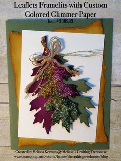 DIY handmade card using the Leaflets Framelits and a New & Improved way to Custom Color Glimmer Paper. Created by Melissa Kerman, Stampin' Up Demonstrator since 2003.