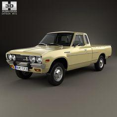 model of Datsun 620 King Cab 1977 based on a Real object, created according t. Classic Trucks, Classic Cars, Datsun Car, Datsun 1600, Minis, Datsun Bluebird, Nissan Trucks, Car 3d Model, 3d Modelle
