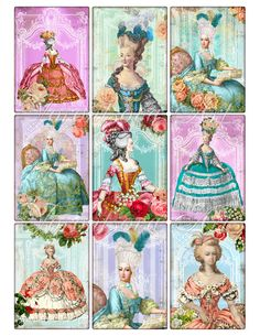 Louvre Marie Antoinette Digital Collage Sheet. Printable Imade ATC ACEO. Download and print 901. via Etsy.