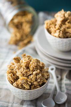 Basic Granola Recipe - Baking A Moment Best Dessert Recipes, Brunch Recipes, Easy Desserts, Gourmet Recipes, Baking Recipes, Breakfast Recipes, Snack Recipes, Healthy Recipes, Healthy Snacks