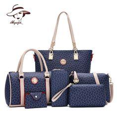 ed96e01c8c89 US $28.72 38% OFF|New 6 PC/Set Women Handbag Printing Composite Bag Casual  Female Messenger Bags Brand Shoulder Bag Purse Wallet Leather Crossbody-in  ...