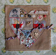 Stitched Heart Sampler by Lisa Super
