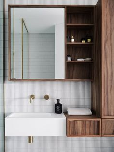 Have a look at this luxurious bathroom by Made Homes!⁠ ⁠ We don't know where to begin...the custom walnut cabinetry, the gorgeous kit kat tiles or all the luxurious details that have gone into this refined space.⁠ ⁠ Whatever it is, we simply adore it 🙏⁠ ⁠ ⁠🛒 ABI Featured Products⁠ - Milani Progressive Mixer & Spout Set in Brushed Brass⁠ - Marli Bottle Trap in Brushed Brass⁠ Classic Home Decor, Cute Home Decor, Cheap Home Decor, Bathroom Inspiration, Home Decor Inspiration, Decor Ideas, Living Tv, Target Home Decor, Arquitetura