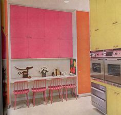 Retro color block kitchen with Andy Warhol Pansy print.