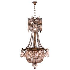 Worldwide Lighting Winchester Collection 4 Light Antique Bronze Finish and Golden Teak Crystal Chandelier D x H Medium Round Chandelier, Empire Chandelier, Large Chandeliers, Chandelier Lighting, Crystal Chandeliers, Winchester, Online Lighting Stores, Light Bulb Types, Cool Lighting