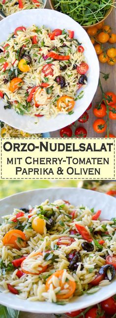 Pasta Recipes Orzo rice noodles, cherry tomatoes, red peppers and olives are a light pasta … Pasta Ligera, Tomato Pasta Salad, Cherry Tomato Pasta, Pasta Dishes, Healthy Soup Recipes, Pasta Recipes, Salad Recipes, Light Pasta, Olive Recipes