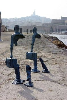 .To celebrate the city of Marseille's status as the European Capital of Culture 2013, French artist Bruno Catalano displayed ten life-size sculptures of people at the port of Marseille. Inspired by travel, his bronze sculptures represent a world citizen who's in search of their missing pieces. Huge chunks of their bodies seem to be missing and visitors must wonder how these sculptures can stand on their own.