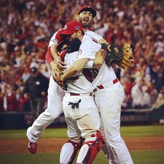 """""""Yadier, I almost didn't want to let go of Yadier. I was so happy to be there. I'm so happy he's my catcher. This is why I signed back here. There's no amount of money worth what this city and this team means to me. I'm honored, I'm privileged, I don't deserve any of this."""" - Adam Wainwright"""