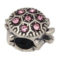 Everbling Turtle with Pink Austrian Crystal October Birthstone Authentic 925 Sterling Silver Bead Fits Pandora Chamilia Biagi Troll Charms Europen Style Bracelets  Price : $19.99 http://www.everblingjewelry.com/Everbling-Austrian-Birthstone-Authentic-Bracelets/dp/B00FBVJMDO