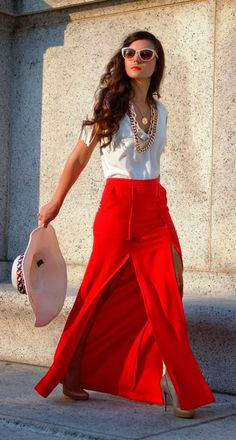 Gorgeous street style with red maxi skirt fashion