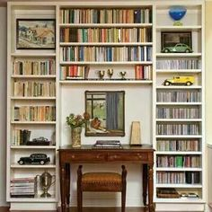 For added storage in your workspace, build a bookcase or put up wall-mounted shelves Home office, home library Bookcase Desk, Bookshelves, Home Office Design, House Design, Antique Desk, Home Libraries, Cozy House, Built Ins, Small Spaces