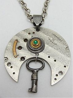 Steampunk Pendant - Secrets - Steampunk Necklace - Handmade steampunk jewelry made with real vintage pocket watch and watch parts