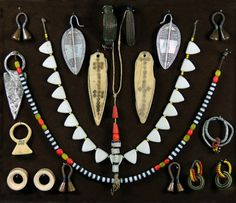 Display of jewellery including pieces from the Turkana, Masai and Dinka people