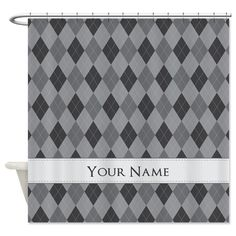 Gray Argyle - Personalized! Shower Curtain on CafePress.com
