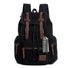 Canvas Rucksack, P.KU.VDSL-AUGUR REIHE Vintage Multifunktionstasche Canvas Schulrucksack Backpack für Herren Damen Outdoor Sports Reise Wandern Bergsteigen