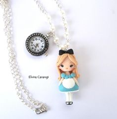 Alice in wonderland necklace with real watch polymer clay creations by… Polymer Clay Disney, Polymer Clay Dolls, Polymer Clay Projects, Polymer Clay Charms, Polymer Clay Creations, Polymer Clay Jewelry, Crea Fimo, Clay Keychain, Cute Clay