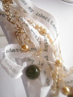 mixed media collar with silk, chain, glass and vintage resin Bangles, Bracelets, Wearable Art, Fiber, Mixed Media, Jewelry Making, Chain, Metal, Gold