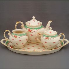 The Twiggery - Tea Party - green vintage rose tea set