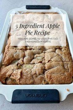 Apple Pie Slice Recipe Only 5 Ingredients Video Tutorial Apple Pie Recipe Easy, Slice Recipe, Easy Pie Recipes, Apple Pie Recipes, Apple Desserts, Best Dessert Recipes, Sweet Recipes, Baking Recipes, Delicious Desserts