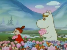 Little My and Snorkmaiden picking flowers