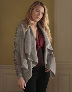 Blake Lively Wore camilla and marc's Dark Crystal Night Cardigan on Gossip Girl | Fashion Trendsetter