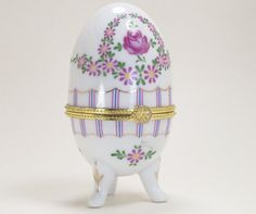 Porcelain Trinket Box Egg Purple Daisies Pink by dalesdreamsII