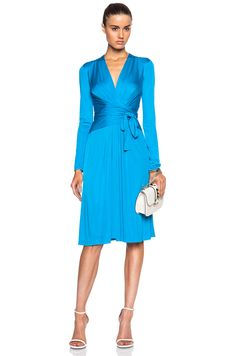 Image 1 of Issa Phylis Silk Jersey Blend Wrap Dress in Azure